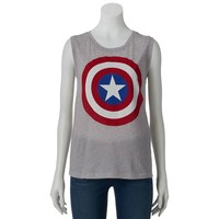 Awake Marvel Comics Captain America Shield Muscle Tee - Juniors, Size: