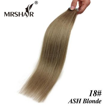 """MRSHAIR 18# Human Hair Extensions Tape In 20pcs Brazilian Hair On Tape Ash Blonde Skin Weft Hair Extensions 16"""" 18"""" 20"""" 22"""" 24"""""""