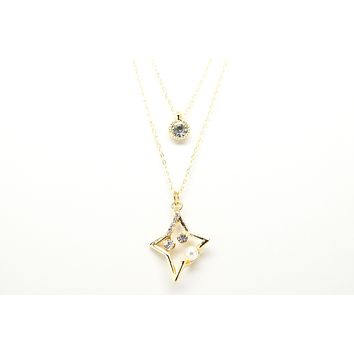Star with Pearl Gold Plated Double Necklace with Cubic Zirconia