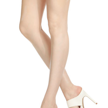 White Faux Leather Pointed Toe Heels
