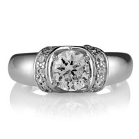 Sterling Silver 925 Round Cubic Zirconia CZ Ring #r030