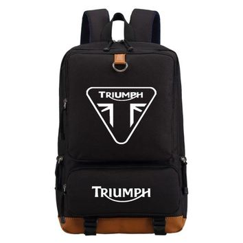 Boys bookbag trendy WISHOT triumph motorcycle backpack Men women's boy Student School Bags travel Shoulder Bag Laptop Bags  casual bag AT_51_3