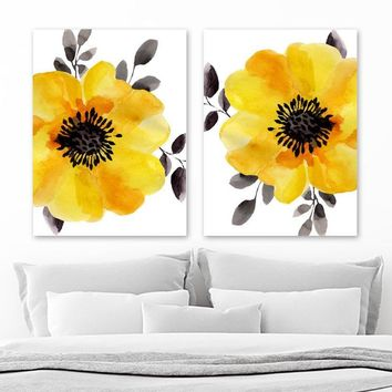 Watercolor Yellow Gray Black Anemone Flower Wall Art Decor, Watercolor Anemone Flower Artwork, Floral Bedroom Set of 2 Canvas or Print