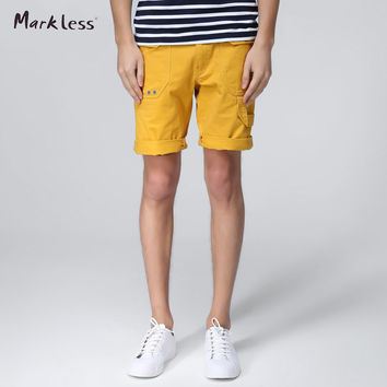 Fashion Shorts Men Summer 100% Cotton Shorts Male Casual Yellow Blue Short Pants Summer Fashion Man Clothes