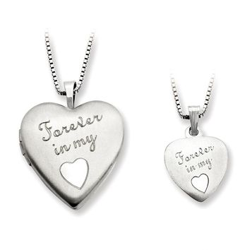 Sterling Silver Satin Forever in My Heart Mom Locket & Daughter Pendant Set