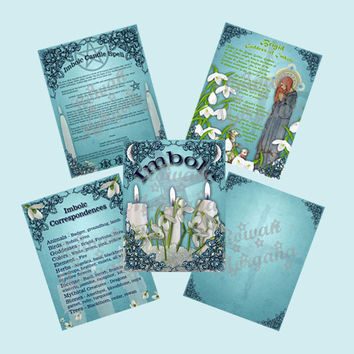 IMBOLC Digital Download,   5 Pages, Book of Shadows Pages,Grimoire, Scrapbook, Spell