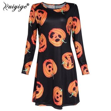 Ruiyige 2018 SpringWomen Fashion Skeleton Skull Pumpkin Printed Long Sleeves O-Neck A-Line Short Dresses Gothic Helloween Robes