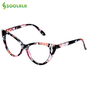 SOOLALA Reading Glasses Women Cat Eye Glasses 61mm Lens Strengths Full Frame Eyeglasses +1.0 +1.5 +2.0 +2.5 +3.0 +3.5 +4.0