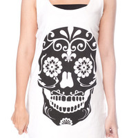 SKULL Shirt Day of the Dead Sugar Skull Shirts Women Tank Top White T-Shirt Tunic Top Vest Singlet Women Shirt Size S M