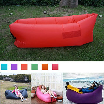 Greatever Outdoor Portable Inflatable Bag Lounger, Waterproof - Suitable For Camping,Beach Couch Sofa,Dream Chair Garden Cushion,Pool Party,Camping, Sleeping Air Bed (Red)
