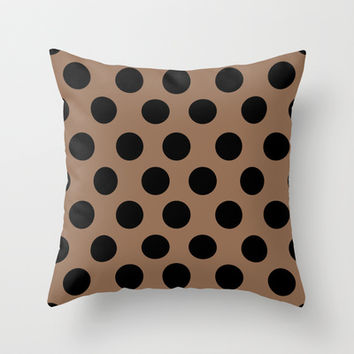 BROWN CLASSY POLKA DOTS Throw Pillow by Allyson Johnson