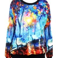 Pandolah Neon Galaxy Cosmic Colorful Patterns Print Sweatshirt Sweaters (Free size, Oil painting)