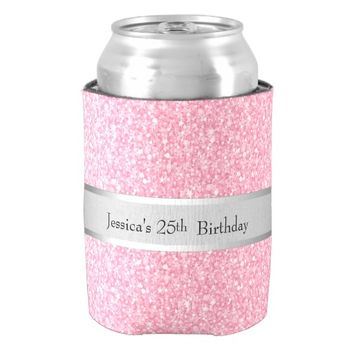 Pink Glitter Silver Gradient Accents Can Cooler