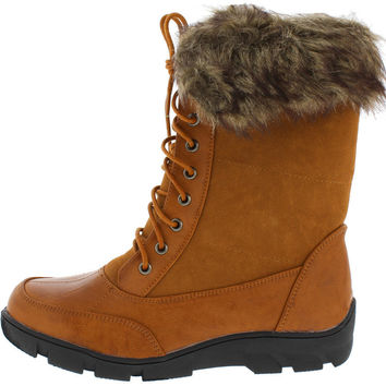 Winter Fur Lined Fold Over Lace Up Boots