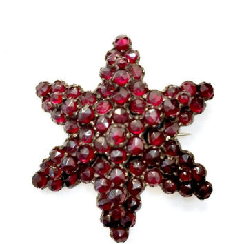 Antique Bohemian Garnet Brooch, Garnet  Star Pin, Tiered Design, 6 Point Star, Rose Cut, Antique Jewelry, Vintage Bridal, Special Occasion
