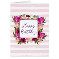 Pink Rose & Poppy Floral Bouquet Happy Birthday Card