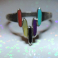 Navajo Sterling Silver Amber MOP Onyx Carnelian Turquoise Ring