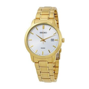 Seiko Silver Dial Yellow Gold-Tone Stainless Steel Mens Watch SUR198P1