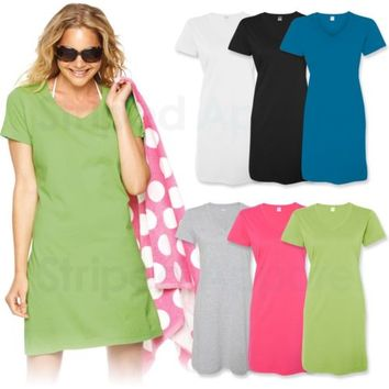 Ladies Fine Jersey V-Neck Coverup S-3XL Womens Short Sleeve Beach Dress LAT 3522