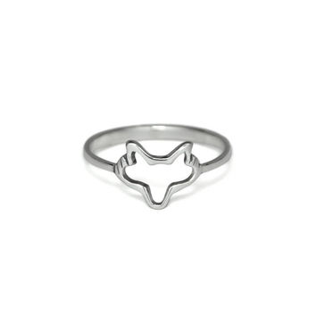 Silver Fox Face Ring, Solid 925 Sterling Silver, Adjustable Open Fox Ring, Animal Jewelry, Gifts Ideas