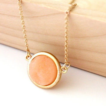 Small druzy pendant - peach color