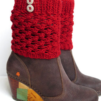 Red Boot Cuffs with button, Women's Accessories, Teen Girls, Winter Boot Cuffs, Boot Toppers, Knit Boot Socks Tweed, Fall Accessory, cuffs