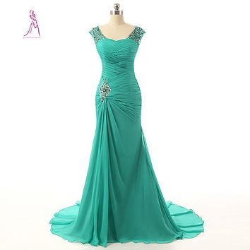 JY Best Selling Mermaid Long Green Evening Dress Chiffon Pleat Sweetheart Prom Dresses Elegant Formal Gown Wedding Party