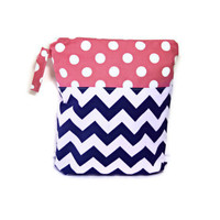 Navy blue Pink chevron polka dots wet bag waterproof cloth diaper zipper medium swim bathing suit pool beach boy girl wetbag