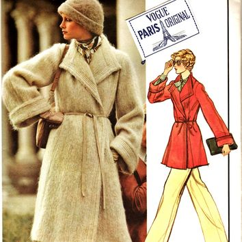 70's Vogue Paris Original Pattern 1023 DIOR Gorgeous Winter Coat 2 Lengths & Trousers w LABEL-Sz 14 Uncut FF Couture Outerwear Sewing Supply