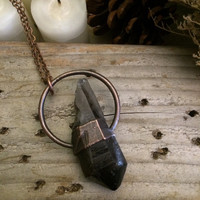 Smoky Quartz Necklace / Raw Crystal Necklace / Copper Boho Necklace /Gypsy Jewelry / Healing Crystal Pendant / Smoky Quartz Jewelry