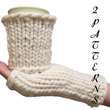 2 PDF Patterns - Coffee Cup Cozy Pattern & Fingerless Gloves Pattern - Chunky Arm Warmers - Peruvian Highland Wool