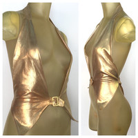 Gold Disco Top, Shiny Gold Halter Vest, Deep V Neck Metallic Gold Vest, Open Back, Front Buckle, Sexy Gold Top, Burning Man Glam Playa Wear