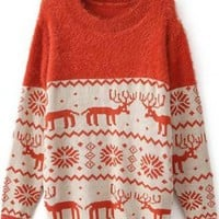 X'mas Deer Bat Sleeve Sweater Red  S005369