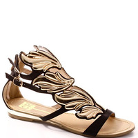 Winged Goddess Flats - Black