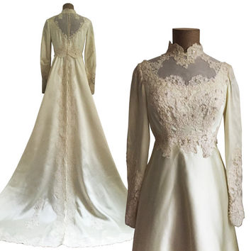 70s MILGRIM Wedding Dress with long train - cream lace pearl beaded gown - vintage Illusion neckline