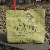 Recycled Feed Sack Hen and Eggs Chicken Food Market, Tote Bag, or Purse