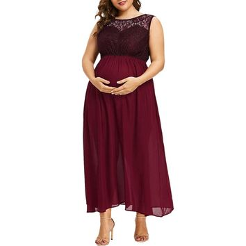 Lace O-Neck Long Maxi Dress For Pregnant Women