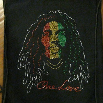 BOB MARLEY RASTA ONE LOVE BEADED DRAWSTRING BAG BACKPACK TRAVEL STRING POUCH