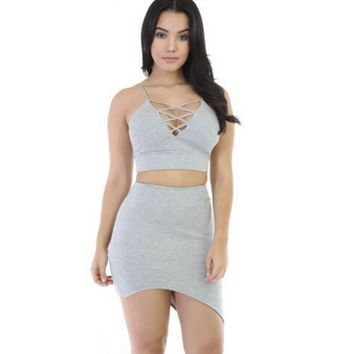 Strappy Asymmetric Crop Top And Skirt Two-Piece Dress 11576