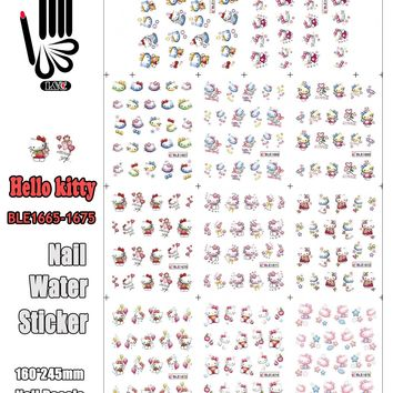 11 Sheets/Lot Nails Sticker BLE1665-1675 Cartoon KT Colourful Hello Kitty Nail Art Water Transfer Sticker Decal(11 DESIGNS IN 1)