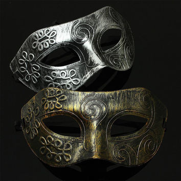 Burnished Antique Silver & Gold Venetian Mardi Gras Masquerade Party Ball Mask