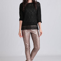 Afton Sequin Lounge Pants In Gold