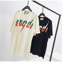 """Gucci"" Unisex Personality lightning Letter Print Couple Short Sleeve Cotton T-shirt Top Tee"