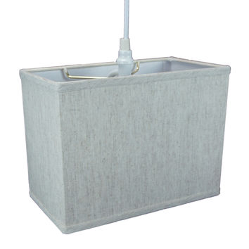 "0-035015>Rectangular 1 Light Swag Plug-In Pendant Hanging Lamp (6.5x12) (6.5x12) x 9"" Textured Oatmeal"