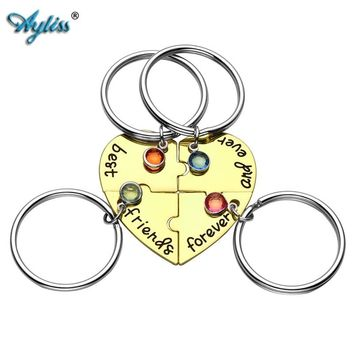 Ayliss 2018 New Alloy Rhinestone Best Friends Forever and Ever BFF Keyring Engraved Puzzle Friendship Matching Pendant Keychains
