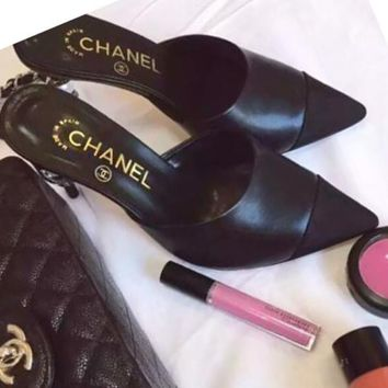 Chanel Trending Women Stylish Color Matching Pearl Heel Pointed High-Heeled Sandals Shoes Black I-ALS-XZ
