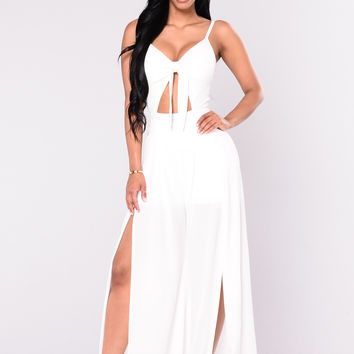 Know My Worth Jumpsuit - White
