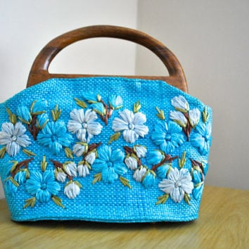 Bright Blue Floral Wicker Purse - From the Phillipines - Blue Vintage Handbag