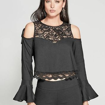 Luella Lace Cold-Shoulder Top at Guess