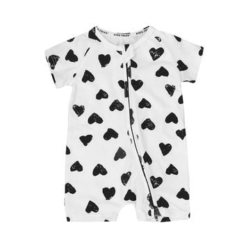 Fashion 2017 Boy Girl Rompers Summer Baby Cotton Heart Prints Rompers Baby Short Sleeve Jumpsuit Bebe Coverall Baby Clothing